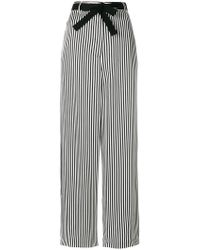 Hache - Striped Belted Wide-leg Trousers - Lyst