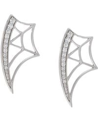 Eshvi - Diamond Web Earrings - Lyst