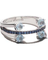 Delfina Delettrez - 18kt White Gold, Sapphire And Aquamarine Linked Dots Ring - Lyst