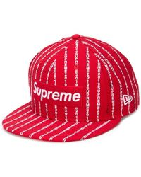 Supreme - Logo Striped Cap - Lyst