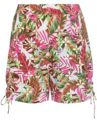 All Things Mochi - Tropical Print Side Tie Cotton Shorts - Lyst