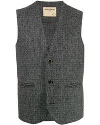 Al Duca d'Aosta Houndstooth Tweed Waistcoat - Gray