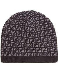 Fendi - Knit Ff Logo Beanie - Lyst