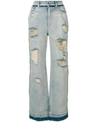 Dolce & Gabbana - Ripped Wide Leg Jeans - Lyst