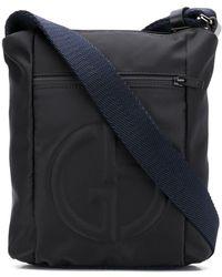 Giorgio Armani Logo Embossed Messenger Bag