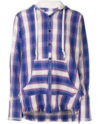 Greg Lauren - Shirt Style Buttoned Hoodie - Lyst