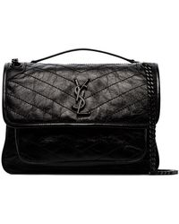 6932f8c69027 Saint Laurent - Black Niki Medium Tonal Logo Leather Shoulder Bag - Lyst