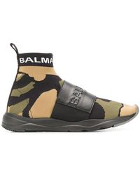 Balmain - Camouflage Plaque Sneakers - Lyst