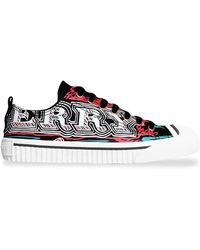 Burberry - Doodle Print Coated Cotton Trainers - Lyst