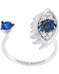 Delfina Delettrez - 'eyes On Me Piercing' Diamonds And Sapphires Ring - Lyst