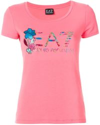 EA7 - Floral Logo Print T-shirt - Lyst