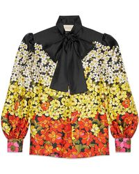 Gucci - Degradé Flowers Silk Twill Shirt - Lyst