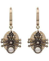 Alexander McQueen - Metallic Pearl Embellished Spider Earrings - Lyst