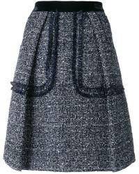 Talbot Runhof - Sequinned Tweed Skirt - Lyst