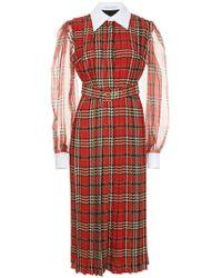 Emilia Wickstead - Vestido plisado con motivo de cuadros escoceses - Lyst