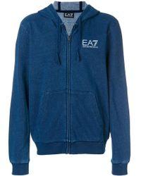 EA7 - Denim Zip Hoodie - Lyst