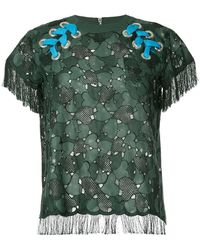 Sacai - Embroidered Laced Shoulder T-shirt - Lyst
