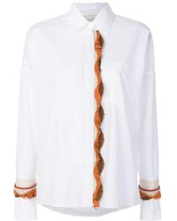 Antonia Zander - Fringed Leather Trim Shirt - Lyst