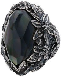 Lyly Erlandsson Silver And Black Winter Leaf Chunky Silver Ring - Metallic