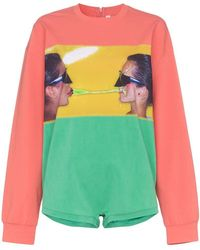 Adam Selman - Face Printed Cotton-blend Playsuit - Lyst