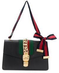 79c3e1c9b1e Lyst - Gucci  sylvie  Mini Chain Web Leather Crossbody Bag in Gray