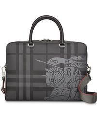 Burberry - Ekd London Check And Leather Briefcase - Lyst