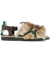 Kolor - Fur Embellished Sandals - Lyst