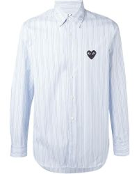 Play Comme des Garçons - Embroidered Heart Striped Shirt - Lyst