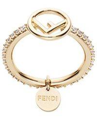 Fendi - Embellished Logo Ring - Lyst