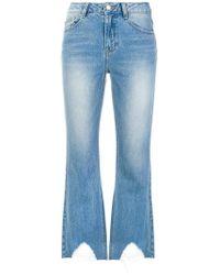 SJYP - Distressed Hem Cropped Jeans - Lyst