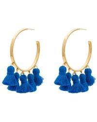 Marte Frisnes - Gold Metallic And Blue Raquel Sterling Silver Tassel Hoop Earrings - Lyst