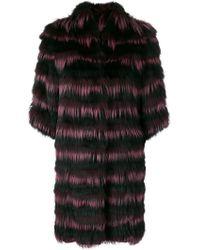 Guy Laroche - Striped Fur Coat - Lyst
