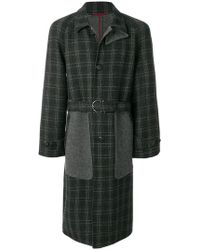 Ferragamo - Panelled Checked Coat - Lyst