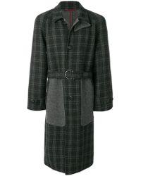 Ferragamo - Panelled Checked Coat - Lyst
