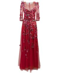 54ff96ecdae Marchesa notte - Embroidered Floral Tulle Gown - Lyst