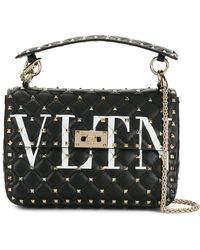 Valentino - Black Vltn Rockstud Spike Leather Shoulder Bag - Lyst