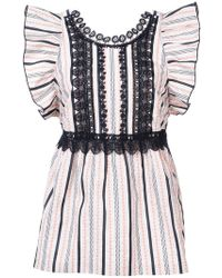 Anna Sui - Ribbon Stripe And Daisy Song Top - Lyst