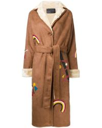 N-Duo - Rainbow Print Belted Coat - Lyst