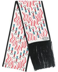 Valentino - Lipstick Print Fringed Scarf - Lyst