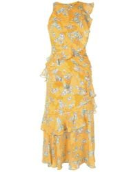 069d0d3773 Lyst - Lavish Alice Canary Yellow Wrap Front Keyhole Back Detail ...