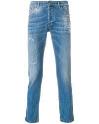 Entre Amis - Slim Fit Distressed Jeans - Lyst