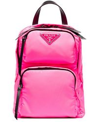 bce4aa6d7e0d ... low cost prada pink logo one shoulder backpack lyst 24a94 7bbc4
