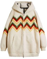 Burberry - Chevron Intarsia Shearling Hoodie - Lyst