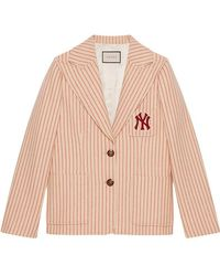 Gucci - Silk Wool Jacket With Ny Yankeestm Patch - Lyst