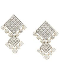 Lanvin - Gold And Silver Crystal Clip-on Earrings - Lyst