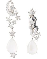 Lydia Courteille - Diamond And Moonstone Virgo Earrings - Lyst