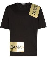 Rabattgutschein mäßiger Preis Mode-Design Logo Tape T-shirt - Black