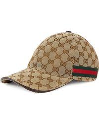 7ba93f9ced8 Lyst - Gucci GG Web Stripe Baseball Cap in Brown for Men