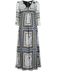 SUNO - Metallic Printed V-neck Dress - Lyst