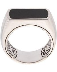 John Hardy - Silver And Onyx Classic Chain Ring - Lyst